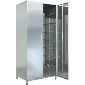 Шкаф кухонный для хлеба,  810х480х1800мм, 2 двери распашные, нерж.сталь 430, сварной, 7 пар направляющих для хлебных лотков, замок
