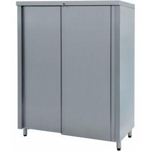 Шкаф кухонный, 1500х600х1730мм, 2 двери-купе, 2 полки сплошные, нерж.сталь, разборный, замок