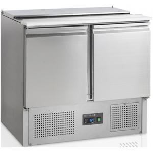 Стол холодильный саладетта, GN1/1, L0.90м, без борта, 2 двери глухие, +2/+10С, нерж.сталь, стат.охл.+вент., агрегат нижний, гнездо 2GN1/1+2GN1/4, раз.