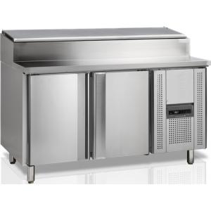 Стол холодильный для сэндвичей, EN, L1.51м, без борта, 2 двери глухие, ножки, +2/+10С, нерж.сталь. дин.охл., агрегат справа, возвыш.8GN1/3