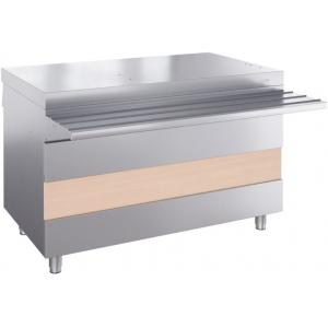 Прилавок нейтральный для горячих напитков, L1.20м, стенд закрытый, нерж.сталь, направляющая, 2 розетки 220V, отверстия под полку
