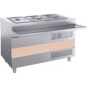 Прилавок холодильный, L1.20м, ванна охлаждаемая -2/+10С, стенд закрытый, нерж.сталь, направляющая, отверстия под полку