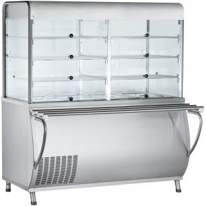 Прилавок-витрина холодильный, L1.50м, ванна охлаждаемая +5/+15С, стенд полузакрытый без двери, нерж.сталь, направляющие