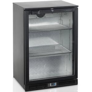 Стол холодильный для напитков, 122л, 1 дверь стекло распашная, 2 полки 496х350мм, ножки, +2/+10С, чёрный, вент.охл., подсветка, R600a