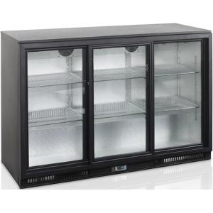 Стол холодильный для напитков, 328л, 3 двери-купе стекло, 6 полок, ножки, +2/+10С, чёрный, дин.охл., подсветка, R290a