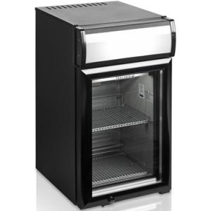Шкаф холодильный для напитков (минибар),  25л, 1 дверь стекло, 2 полки, ножки, +2/+10С, стат.охл.+вент., чёрный, канапе, R600a