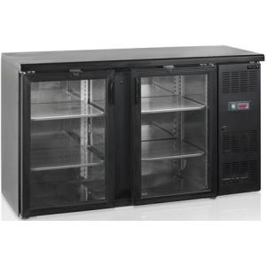Стол холодильный для напитков, 290л, 2 двери стекло распашные, 4 полки, ножки, +2/+10С, чёрный, дин.охл., подсветка, R290a