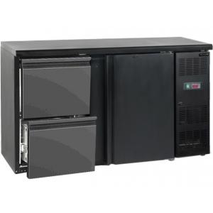 Стол холодильный для напитков, 290л, 1 дверь глухая распашная+2 ящика, 2 полки, ножки, +2/+10С, чёрный, дин.охл., R290a
