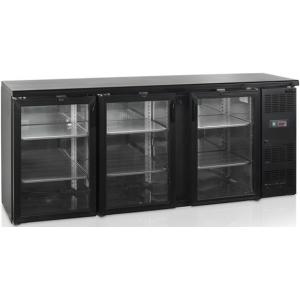 Стол холодильный для напитков, 460л, 3 двери стекло распашные, 6 полок, ножки, +2/+10С, чёрный, дин.охл., подсветка , R290a