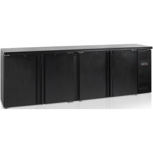 Стол холодильный для напитков, 630л, 4 двери глухие распашные, 8 полок, ножки, +2/+10С, чёрный, дин.охл., R290a