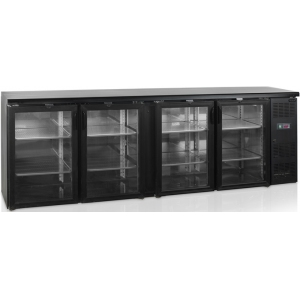 Стол холодильный для напитков, 630л, 4 двери стекло распашные, 8 полок, ножки, +2/+10С, чёрный, дин.охл., подсветка, R290a