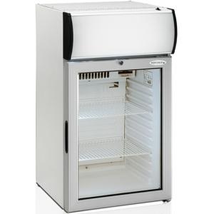Шкаф холодильный для напитков (минибар),  84л, 1 дверь стекло, 2 полки, ножки, +2/+10С, стат.охл.+вент., белый, канапе, R600a