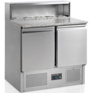 Стол холодильный для пиццы, GN1/1, L0.90м, без борта, 2 двери глухие, ножки, +2/+10С, нерж.сталь, стат.охл.+вент., агрегат нижний, короб 5GN1/6, гран.
