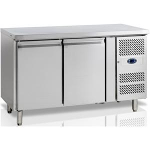 Стол холодильный, L1.36м, без борта, 2 двери глухие, ножки, +1/+10С, нерж.сталь, дин.охл., агрегат справа, R600a