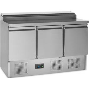 Стол холодильный для сэндвичей, GN1/1, L1.37м, без борта, 3 двери глухие, ножки, +2/+10С, нерж.сталь, стат.охл.+вент., агрегат нижний, возвыш.8GN1/6,