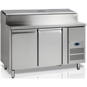 Стол холодильный для сэндвичей, GN1/1, L1.36м, без борта, 2 двери глухие, ножки, +2/+10С, нерж.сталь, дин.охл., агрегат справа, возвыш.7GN1/3, R290a