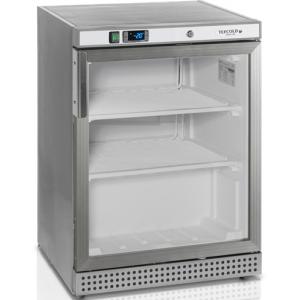 Шкаф морозильный,  200л, 1 дверь стекло, 2 полки, ножки, -10/-24С, стат.охл., нерж.сталь, обогрев стекла, R290a