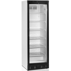 Шкаф морозильный,  300л, 1 дверь стекло, 6 полок, ножки+колеса, -14/-24С, стат.охл.+вент., белый, обогрев стекла, рама чёрная, R290a