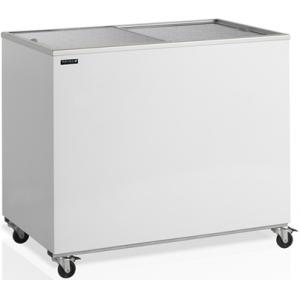 Ларь холодильный, 296л, 2 крышки глухие плоские раздвижные, +1/+10С, без корзин, колеса, белый, стат.охл., R600a
