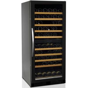 Шкаф холодильный д/вина, (270л), 1 дверь стекло, 10 полок, ножки, +5/+18С и +10/+18C, стат.охл.+вент., черный, R600a