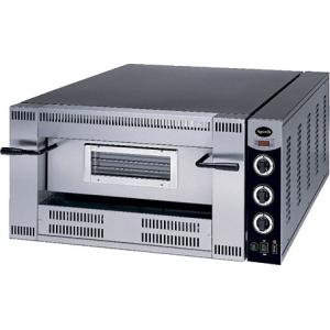 Печь для пиццы газовая, подовая, 1 камера  620х620х155м, 4 пиццы D300мм, электромех.управление, дверь стекло, под камень, боковины краш.сталь