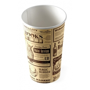 Стакан бумажный для горячих напитков Magic News 400мл крафт