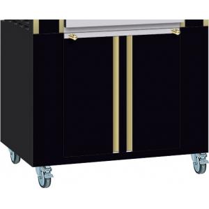 Подставка под гриль для кур Millenium 975.2/5ML*, 975х705х760мм, без столешницы, закрытая, 2 двери распашные, 2 полки, колёса, чёрная+латунь
