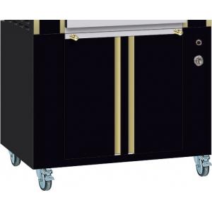 Подставка под гриль для кур Millenium 975.2/5ML*, 975х705х760мм, без столешницы, шкаф тепловой, 2 двери распашные, 2 полки, колёса, чёрная+латунь