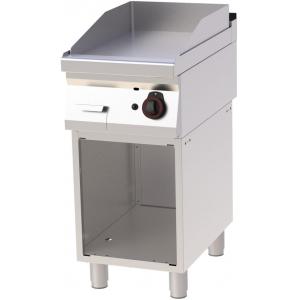 Гриль-сковорода газовая, 1 зона, поверхность гладкая стальная, стенд полузакрытый без двери, нерж.сталь 430, столеш.304, магис.газ