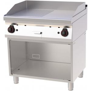Гриль-сковорода газовая, 2 зоны, поверхность комбинированная (гладкая+рифленая) стальная, стенд полузакрытый, нерж.сталь 430, столеш.304, пьезоподжиг,
