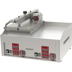 Гриль электрический контактный полуавтомат, 2 зоны 0.31м2, поверхность гладкая+гладкая хром, 1 верх.поверх. (1/2), настольный, 3х220В