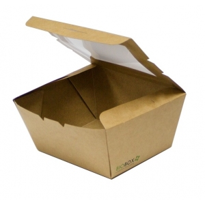 Коробка универсальная с окном 900мл бумага крафт двухсторонний биоразлагаемая