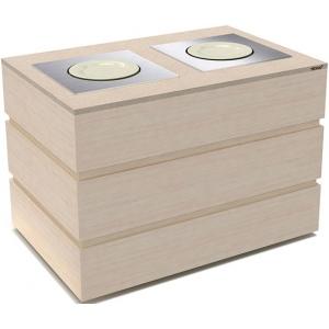 Диспенсер для тарелок подогреваемый, L1.29м, 2 цилиндра 45шт., передвижной, цвет дуб беленый