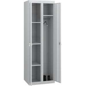 Шкаф для уборочного инвентаря,  500х500х1850мм, 2 секции, 2 двери распашные, 4 полки, 2 крючка, 2 замка, краш.металл серый RAL7035, собранный