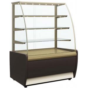 Витрина холодильная напольная, горизонтальная, L1.37м, 3 полки, +6/+12С, дин.охл., коричневая+золото, стекло фронтальное гнутое, подсветка