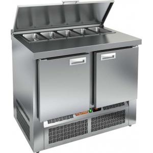 Стол холодильный саладетта, GN2/3, L1.00м, борт, 2 двери глухие, ножки, +2/+10С, нерж.сталь, дин.охл., агрегат нижний, гнездо 5GN1/3, крышка
