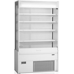 Стеллаж холодильный, пристенный, L1.17м, 4 полки, +2/+8С, дин.охл., белый, фронт открытый, боковины глухие, ночная шторка, подсветка