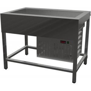 Прилавок холодильный, L1.50м, ванна охлаждаемая 4GN1/1, 0/+8С, открытый, обвязка с 4-х сторон, нерж.сталь, без отделки