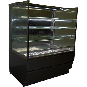 Витрина холодильная напольная, горизонтальная, для самообслуживания, L0.75м, 3 полки, 0/+8С, дин.охл., RAL9005, фронт закрытый, шторка, LED белый