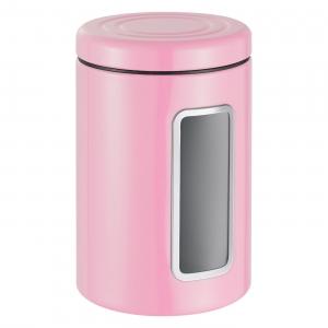 Контейнер для хранения с окошком - цилиндр (цвет розовый), Classic Line