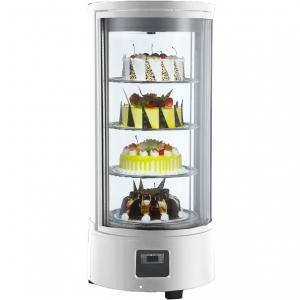 Витрина холодильная настольная, вертикальная, кондитерская, L0.45м, 4 полки, 0/+12С, дин.охл., белая, полки вращающиеся