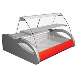 Витрина холодильная настольная, горизонтальная, L1.00м, 1 полка, 0/+7С, стат.охл., серо-красная, стекло фронтальное гнутое, подсветка