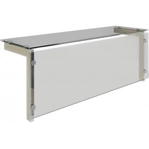 Полка верхняя стеклянная для модулей встраиваемых Виола, L1.46м, стойки нерж.сталь, Г-образная, экран, теплый свет