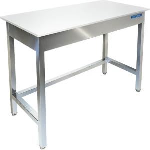Стол производственный разделочный, 1000х600х850мм, без борта, открытый, обвязка с 3-х сторон нерж.304, разборный, труба нерж.304, столеш.полипропилен
