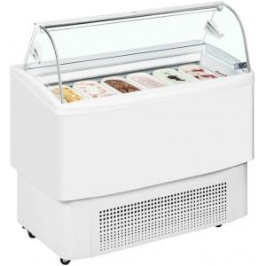 Витрина морозильная напольная, горизонтальная, для мороженого, L1.21м, 12 лотков, -16/-18С, дин.охл., стекло фронтальное гнутое