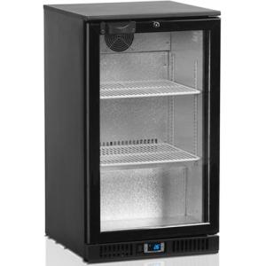 Стол холодильный для напитков, 100л, 1 дверь стекло распашная, 2 полки 398х335мм, ножки, +2/+10С, чёрный, дин.охл., R600a, подсветка