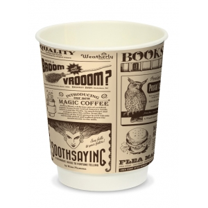 Стакан бумажный для горячих напитков двухслойный MAGIC NEWS 250мл крафт