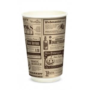 Стакан бумажный для горячих напитков двухслойный Magic News 400мл крафт