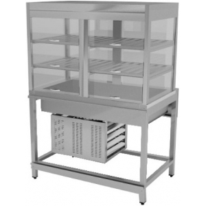 Витрина холодильная для самообслуживания, L0,80м, 2 полки перфорированные, 2GN1/1, закрытая, напольная, 0/+8С, стат.охл., нерж.сталь, подсвет.,б/отдел