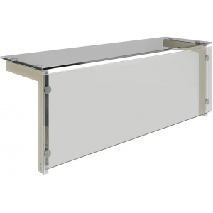 Полка верхняя для модулей встраиваемых Виола, L0.81м, стекло, стойки нерж.сталь, Г-образная, экран, теплый свет